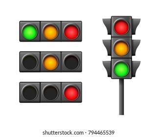 Street traffic light icon lamp. Traffic light direction regulate safety symbol. Transportation control warning.