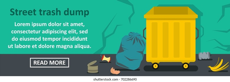 Street trash dump banner horizontal concept. Flat illustration of street trash dump banner horizontal vector concept for web