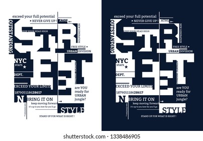 street typography illustration for t-shirt. One color print.