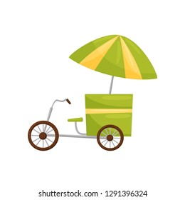 Street vendor bicycle cart with umbrella. Traditional Asian mobile stall. Travel to Vietnam. Flat vector design