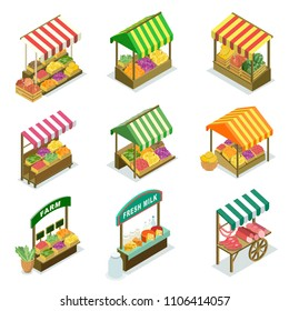 Street vendor booth with canopy isometric set. Market food counters with fruits, vegetables, meat, dairy products. Shopping zone of fresh and natural farm food, street trading vector illustration.