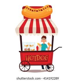 Street vendor course dogs, comic cartoon vector illustration on a white background, mobile store fast fudom, street hot dog cart