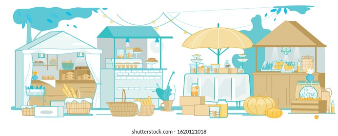 Street Vendor Fair or Outdoor Market with Farm Products, Foods. Bakery, Sweets, Fresh and Temporary Shutdown Fruits, Vegetables Local Kiosks, Urban Shops. Vector Flat Cartoon Illustration