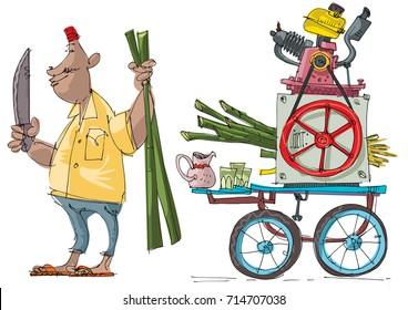 Street vendor prepares sugarcane juice with motorized press machine. Cartoon. Caricature. Vector illustration.