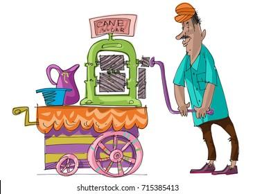 Street vendor prepares sugarcane juice with hand rotation press machine. Cartoon. Caricature. Vector illustration.