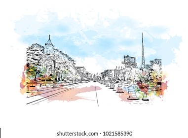 Street view with buildings in Detroit City, Michigan, USA. Watercolor splash with Hand drawn sketch illustration in vector.
