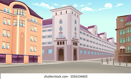 Street view with buildings in perspective. Vector architectural illustration.
