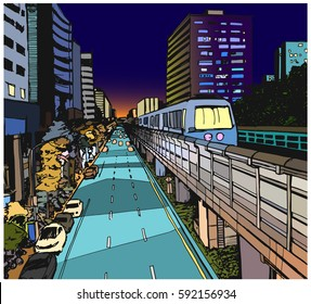 Street view illustration of urban residential area with overground metro line in color