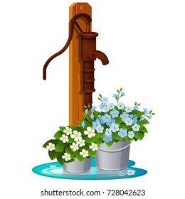 Street vintage water pump and fresh flowers in buckets isolated on white background. Beautiful idea landscape retro style design of botanical garden or park. Vector cartoon close-up illustration.