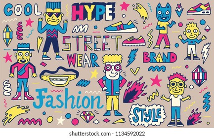 Street Wear Hype Fashion Wacky Doodles. Color Drawing. Vector Illustration. Black Yellow Magenta