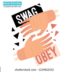 Street wear print for t shirt - swag obey. Tee graphics with slogan. Hip hop street art. Rap album cover, sticker. Isolated vector illustration on white background