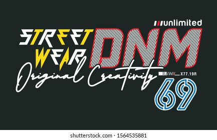 street wear typography for print t shirt