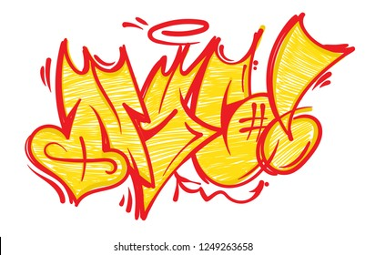 Street wild fast flop style graffiti NYC which made aerosol paint on wall. Urban life hip hop culture print for t shirt poster sticker sweatshirt streetwear brands underground illustration.