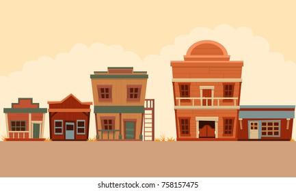 Street Wild West. Flat design. Vector illustration
