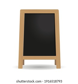 Street Wooden Black Chalkboard. Mockup. Vector 3d Realistic. Empty Template with Wooden Frame isolated on white. Outdoor Stand for Advertising and Presentation for cafes, restaurants, menus.