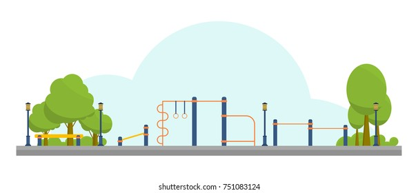 Street workout place for fitness and strength training. City sport park. Element and equipment for urban outdoor training. Sport background. Vector  illustration isolated on white background.