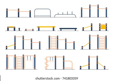 Street workout place or park constructor. Fitness and gym street equipment. Sport playground. Outdoor workout elements. Vector flat illustration isolated on white . Fitness training elements.