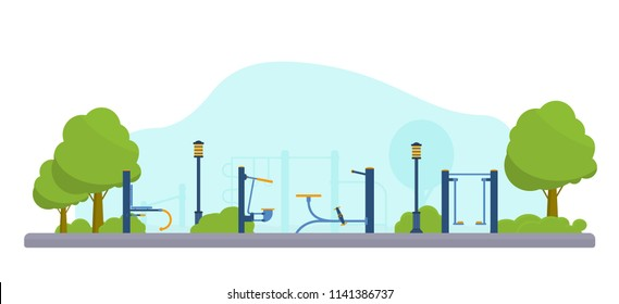Street workout place or park. Fitness and gym street outdoor park. Sport playground. Flat vector illustration.