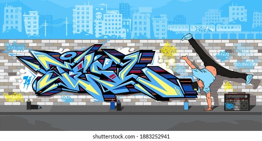 Streetart Graffiti Wall And B boy Dancing Against The Background Of The Cityscape Vector Illustration