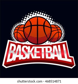 Streetball icon logo in vintage style - stock vector