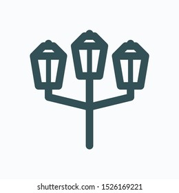 Streetlight linear icon, street lamp isolated vector icon