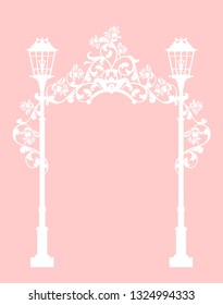 streetlights among rose flowers making a floral arch passage - wedding invitation white silhouette vector design