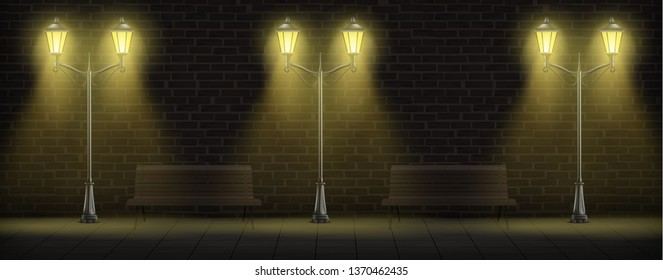Streetlights on brick wall background with wooden benches. Luminous vintage street lights or lampposts on forged steel poles for urban design. Retro city lanterns. Realistic 3d vector illustration.