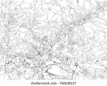 Streets of Bergamo, city map, Lombardy, Italy. Street