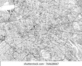 Streets of Berlin, city map, Germany. Street map