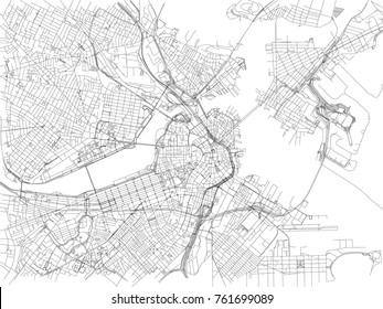 Streets of Boston, city map, Massachusetts, United States. Street map