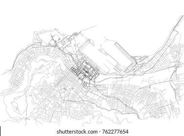 Streets of Cape Town, city map,  South Africa. Street map