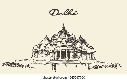 Streets in Delhi, Akshardham Temple, vector illustration, hand drawn, sketch