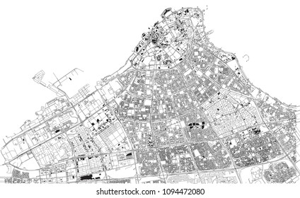 Streets of Kuwait city, city map, capital city, Kuwait. Street. Middle East