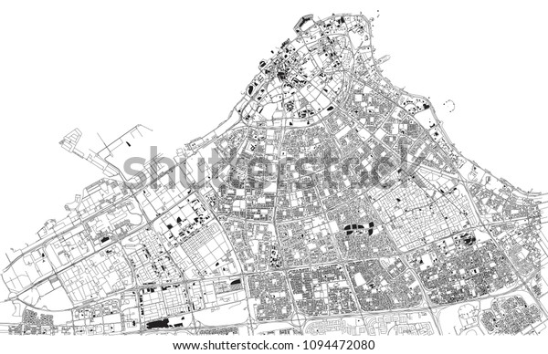 Streets Kuwait City City Map Capital Stock Vector (Royalty Free