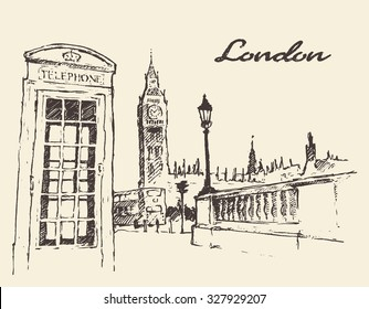 Streets in London (England) with London Bus, Big Ben and red telephone box, vintage engraved illustration, hand drawn