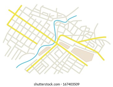 streets on the city plan - vector