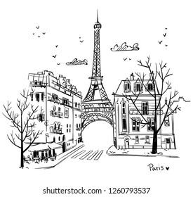 Streets of Paris sketch, vector illustration