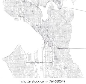 Streets of Seattle, City Map, United States.