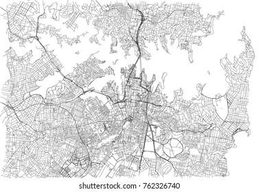 Streets of Sydney, city map, Australia. Street map