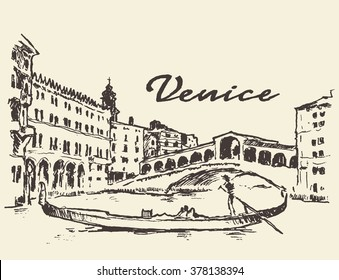 Streets in Venice (Italy) with gondola, vintage engraved illustration, hand drawn
