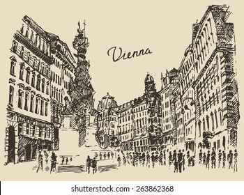 Streets in Vienna (Austria), hand drawn vector illustration, sketch, engraved style