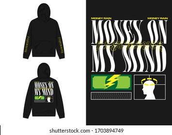 streetwear design hoodie with industrial cash bill