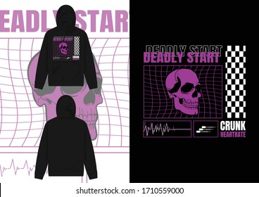 Streetwear Design Hoodie with Industrial Future Head Design