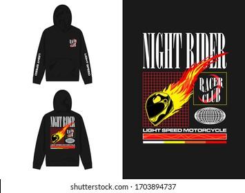 streetwear design hoodie with industrial night rider