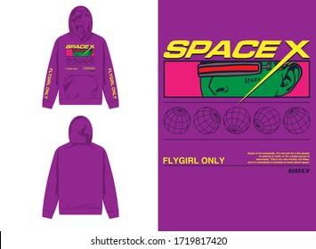 streetwear design hoodie with industrial space alien