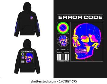 streetwear design hoodie with industrial thermal skull sensor