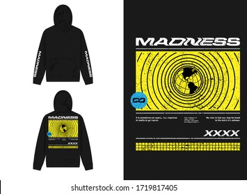 streetwear design hoodie with industrial yellow globe