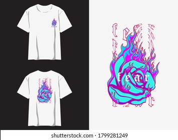 streetwear graphic design for t shirt illustration buring rose , fear