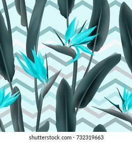 Strelitzia Reginae blossom or crane flower, bird of paradise seamless tropical vector pattern. African plant flower and zigzag stripes background illustration. Fabric print, textile tropical pattern.