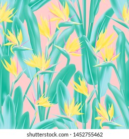 Strelitzia reginae tropical flower vector seamless pattern. Jungle exotic tropical plant fabric design. South African plant tropical blossom of crane flower, strelitzia. Floral textile print.